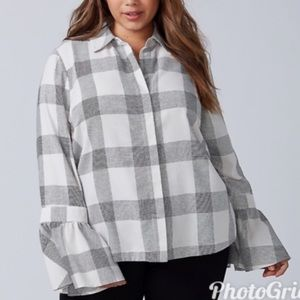 LANE BRYANT Plaid Button Down Top Bell Sleeve Gray